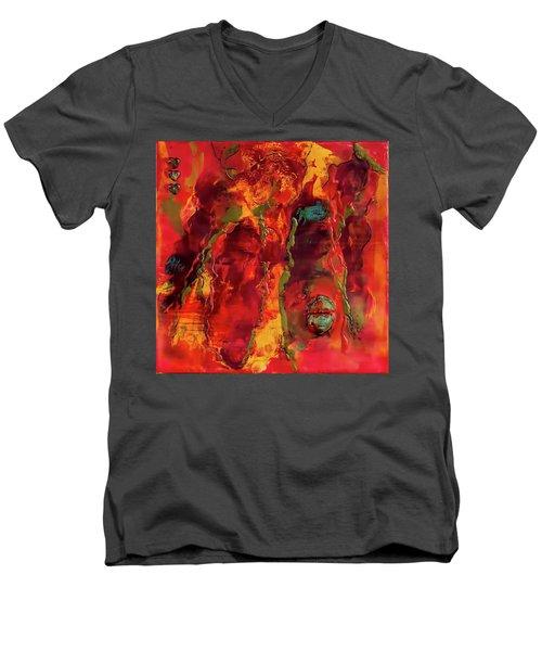 Broken Mask Encaustic Men's V-Neck T-Shirt by Bellesouth Studio