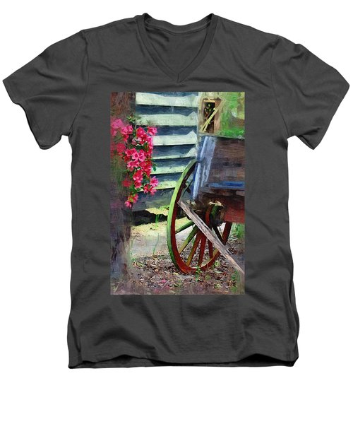 Men's V-Neck T-Shirt featuring the photograph Broken Wagon by Donna Bentley