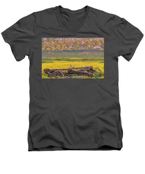 Broken Wagon In A Field Of Flowers Men's V-Neck T-Shirt by Marc Crumpler
