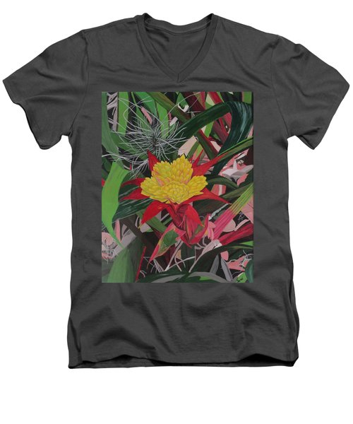 Bromelaid And Airplant Men's V-Neck T-Shirt by Hilda and Jose Garrancho