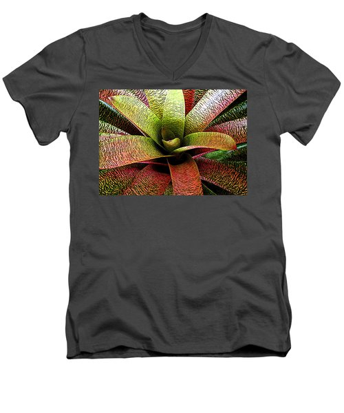 Men's V-Neck T-Shirt featuring the photograph Bromeliad by Ranjini Kandasamy