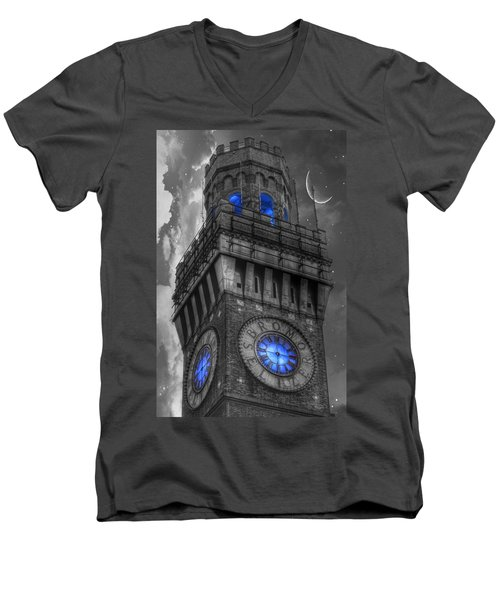 Bromo Seltzer Tower Baltimore - Blue  Men's V-Neck T-Shirt