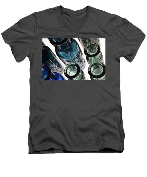 Bromo Seltzer Vintage Glass Bottles - Rare Green And Blue Men's V-Neck T-Shirt