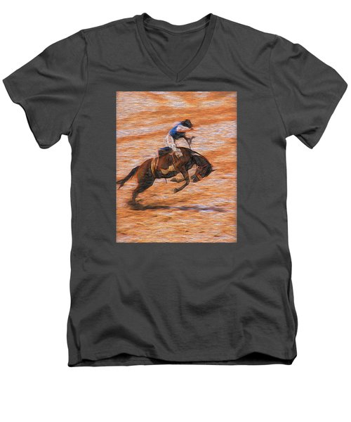 Bronc Rider Men's V-Neck T-Shirt by John Freidenberg