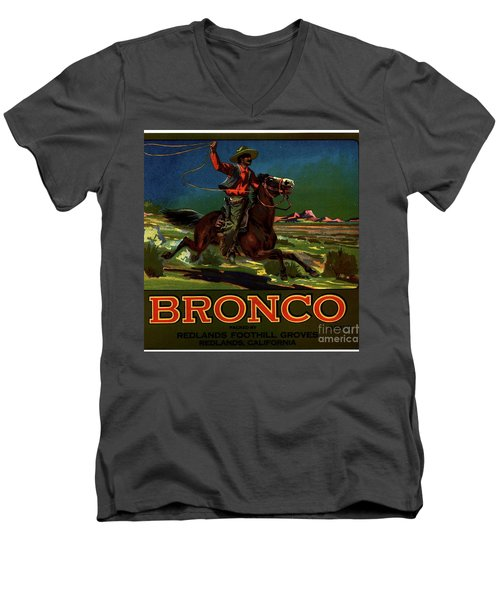 Men's V-Neck T-Shirt featuring the digital art Bronco Redlands California by Peter Gumaer Ogden
