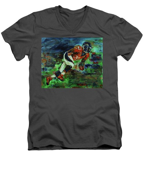 Broncos - Orange And Blue Horse Power Men's V-Neck T-Shirt by Walter Fahmy