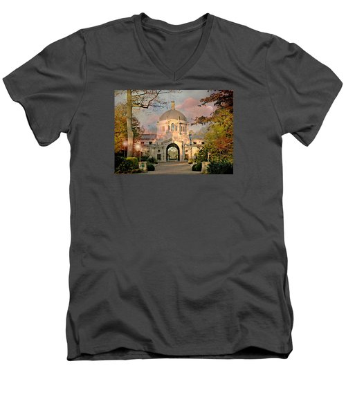 Bronx Zoo Entrance Men's V-Neck T-Shirt by Diana Angstadt