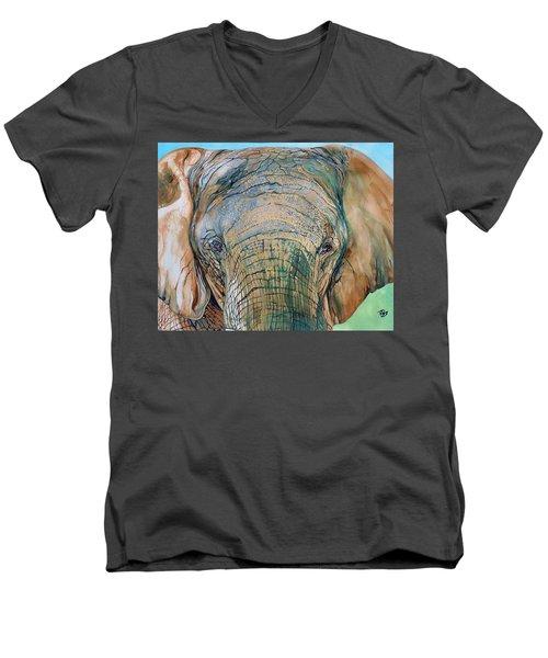 Bronze Elephant Men's V-Neck T-Shirt by Raymond Perez