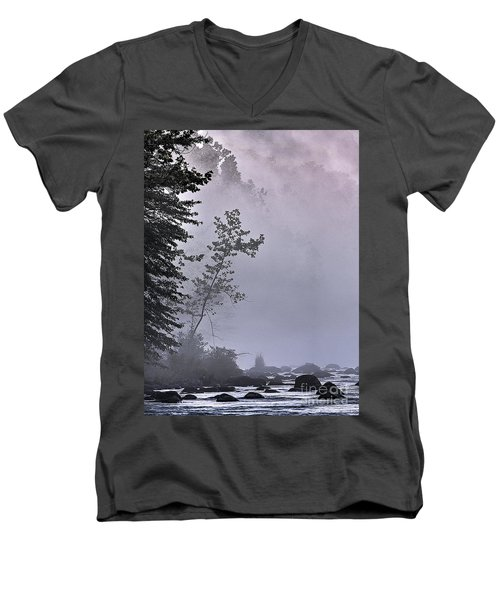Brooding River Men's V-Neck T-Shirt by Tom Cameron