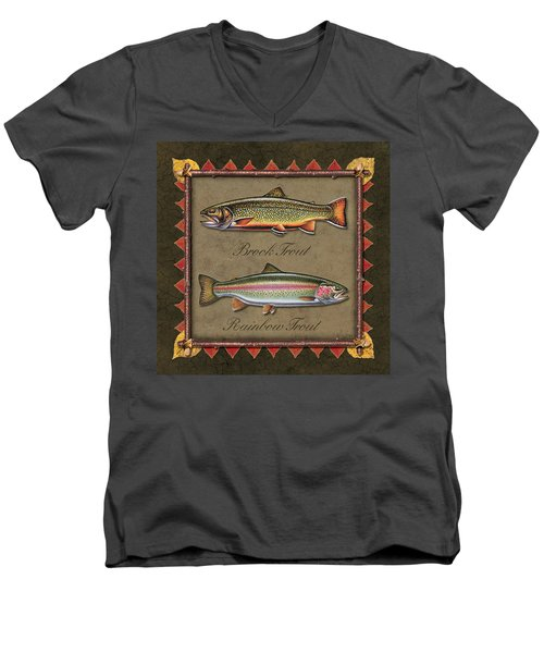 Men's V-Neck T-Shirt featuring the painting Brook And Rainbow Trout by JQ Licensing
