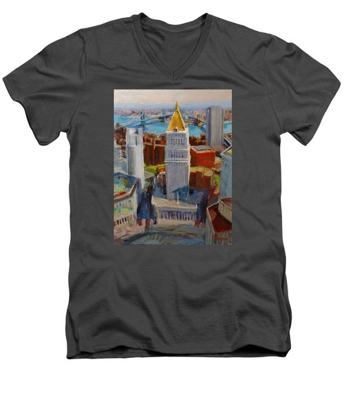 Brooklyn And East River Bridges From Foley Square Men's V-Neck T-Shirt