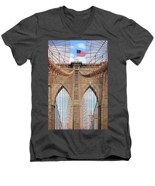 Men's V-Neck T-Shirt featuring the photograph Brooklyn Bridge 2  by Emmanuel Panagiotakis