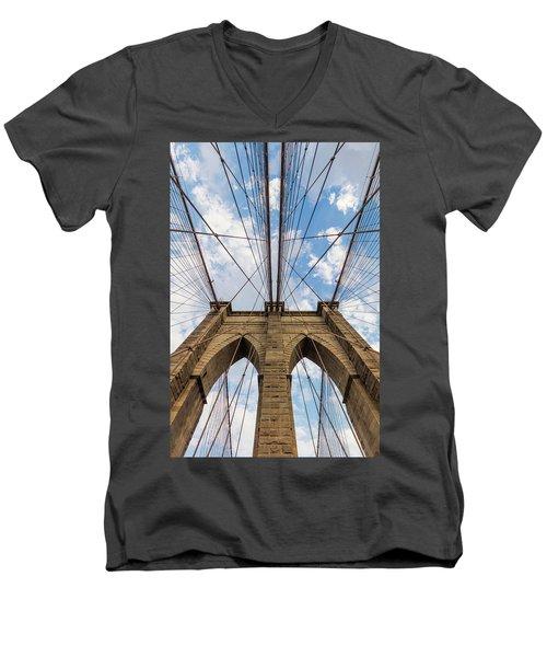 Men's V-Neck T-Shirt featuring the photograph Brooklyn Bridge 3 by Emmanuel Panagiotakis