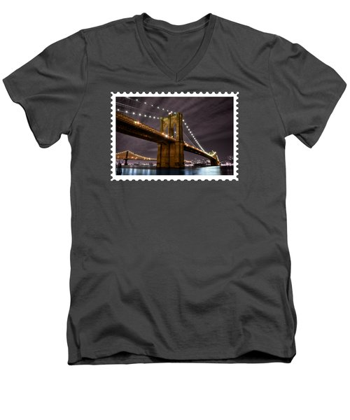 Brooklyn Bridge At Night New York City Men's V-Neck T-Shirt by Elaine Plesser