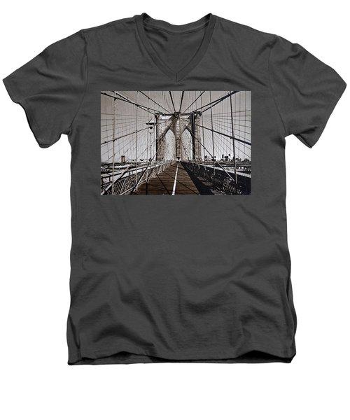 Brooklyn Bridge By Art Farrar Photographs, Ny 1930 Men's V-Neck T-Shirt