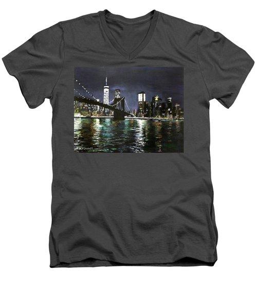Brooklyn Bridge, East River At Night Men's V-Neck T-Shirt