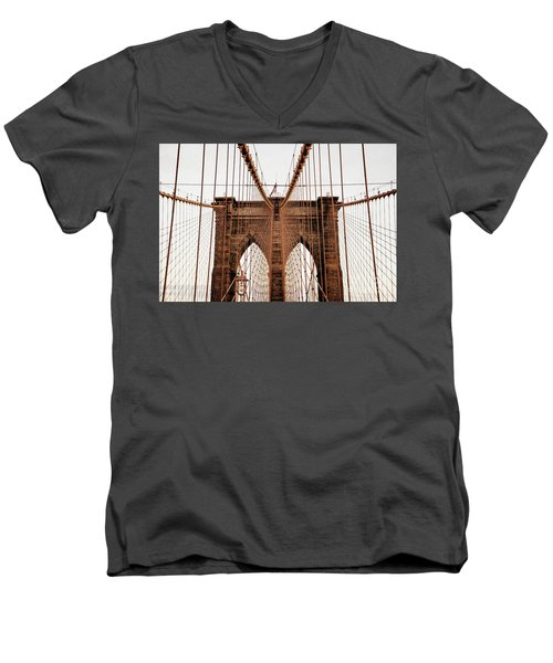 Men's V-Neck T-Shirt featuring the photograph Brooklyn Bridge by MGL Meiklejohn Graphics Licensing
