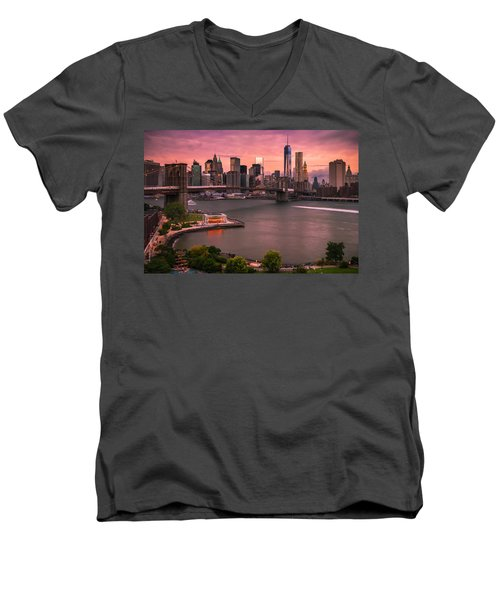 Brooklyn Bridge Over New York Skyline At Sunset Men's V-Neck T-Shirt by Ranjay Mitra