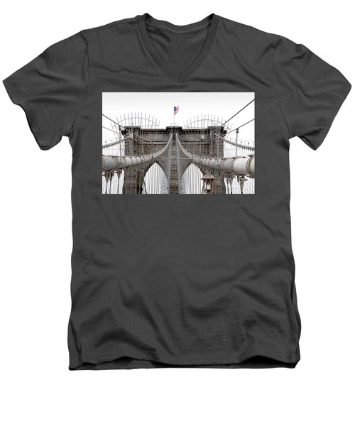 Men's V-Neck T-Shirt featuring the photograph Brooklyn Bridge Top by Peter Simmons