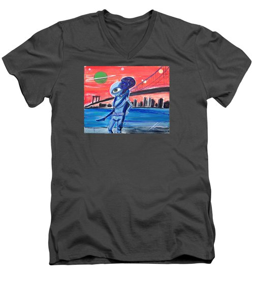 Men's V-Neck T-Shirt featuring the painting Brooklyn Play Date by Similar Alien