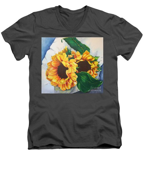 Brooklyn Sun Men's V-Neck T-Shirt by Angela Armano