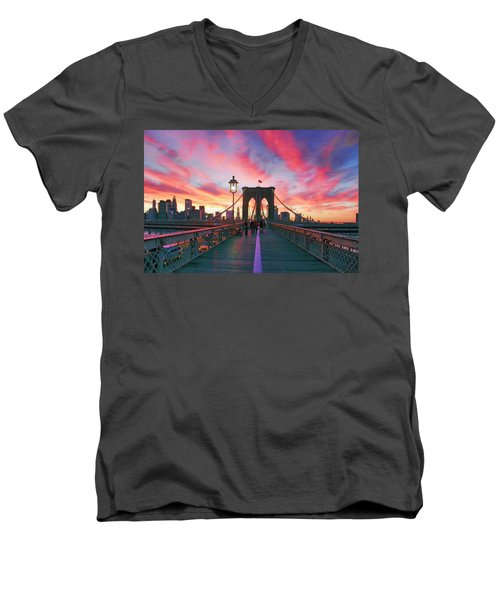 Brooklyn Sunset Men's V-Neck T-Shirt