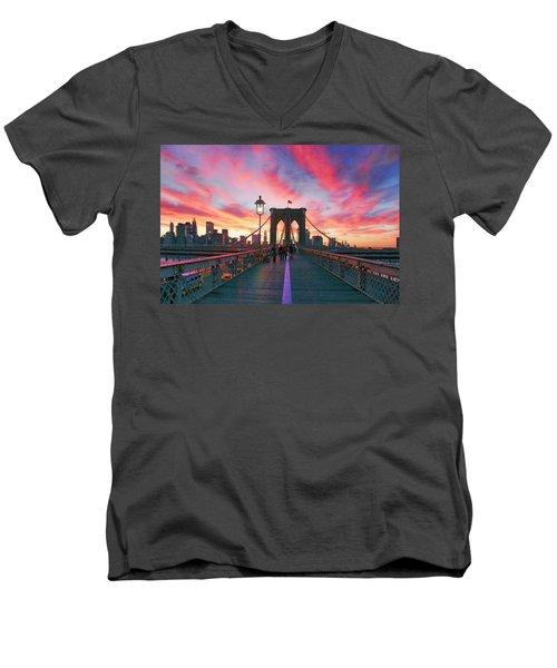 Brooklyn Sunset Men's V-Neck T-Shirt by Rick Berk