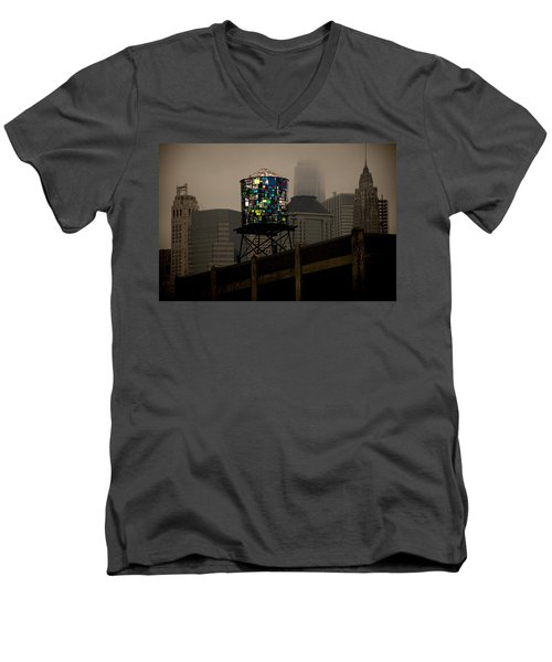 Men's V-Neck T-Shirt featuring the photograph Brooklyn Water Tower by Chris Lord