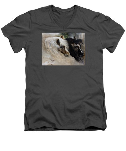 Men's V-Neck T-Shirt featuring the painting Brothers by Barbie Batson