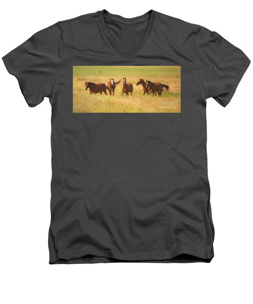 Men's V-Neck T-Shirt featuring the photograph Brothers by Rima Biswas