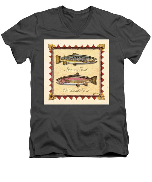 Men's V-Neck T-Shirt featuring the painting Brown And Cutthroat Creme by JQ Licensing