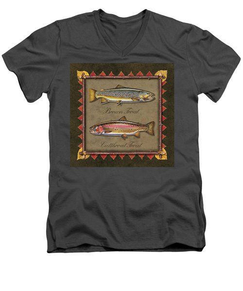 Men's V-Neck T-Shirt featuring the painting Brown And Cutthroat Trout by JQ Licensing