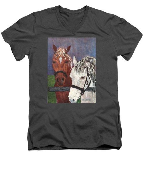 Brown And White Horses Men's V-Neck T-Shirt