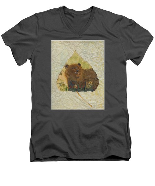 Brown Bear Men's V-Neck T-Shirt by Ralph Root