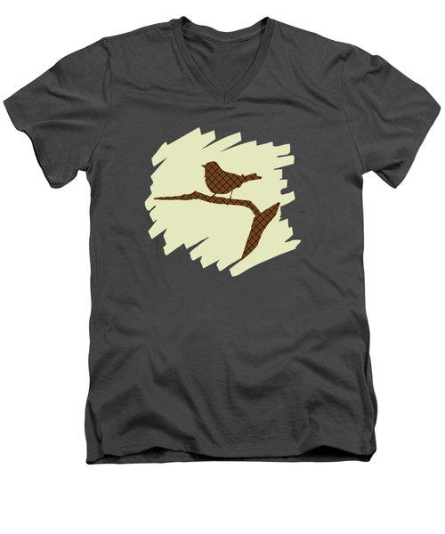 Brown Bird Silhouette Modern Bird Art Men's V-Neck T-Shirt by Christina Rollo