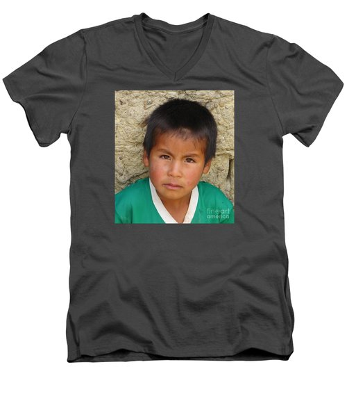 Men's V-Neck T-Shirt featuring the photograph Brown Eyed Bolivian Boy by Lew Davis