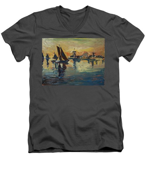 Brown Fleet On The Zaan Men's V-Neck T-Shirt by Nop Briex