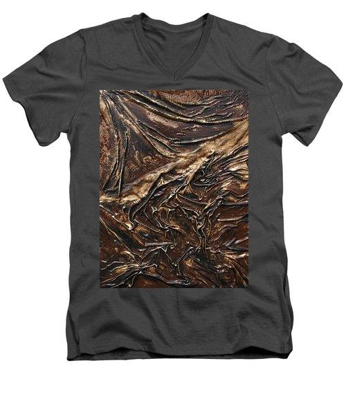 Brown Lace Men's V-Neck T-Shirt