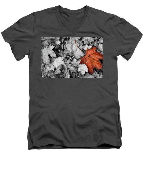 Brown Maple Leaf Men's V-Neck T-Shirt