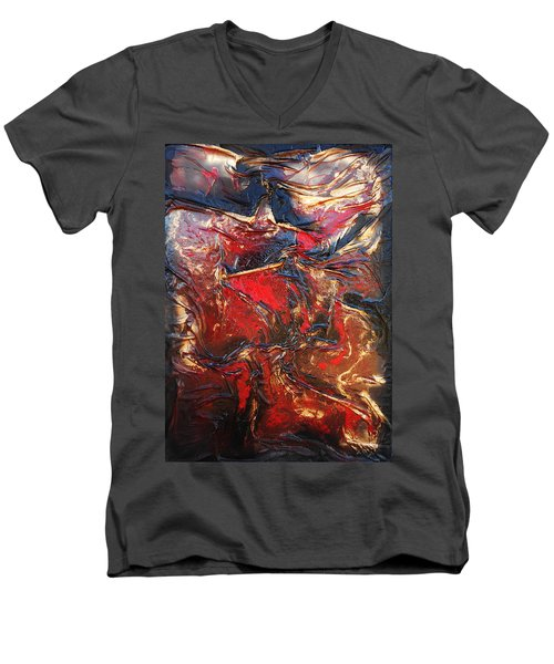 Brown, Red And Gold Men's V-Neck T-Shirt