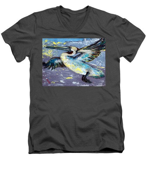 Men's V-Neck T-Shirt featuring the painting Brownie Into The Sunset by Suzanne McKee