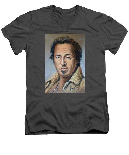 Bruce Springsteen Portrait Men's V-Neck T-Shirt