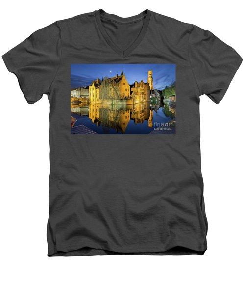 Brugge Twilight Men's V-Neck T-Shirt by JR Photography