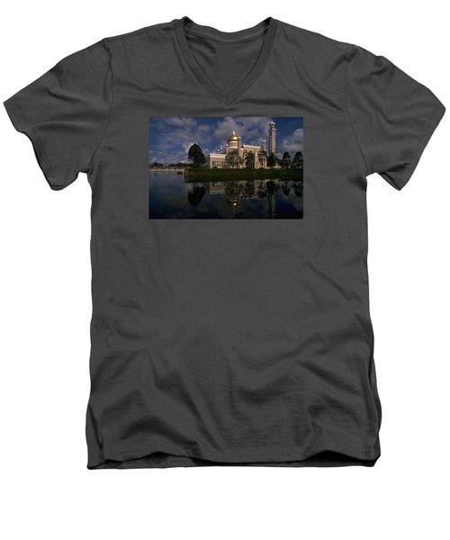 Brunei Mosque Men's V-Neck T-Shirt by Travel Pics