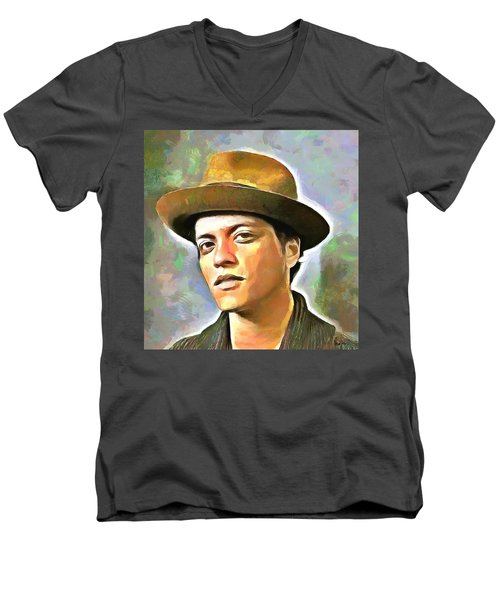 Bruno Mars Men's V-Neck T-Shirt by Wayne Pascall