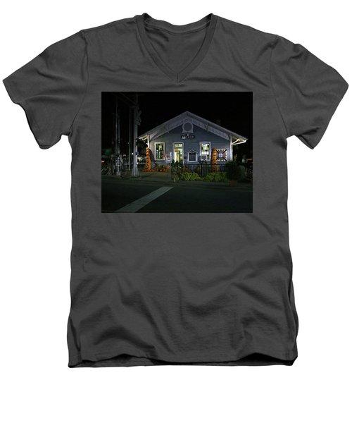 Bryson City Train Station Men's V-Neck T-Shirt by Lamarre Labadie