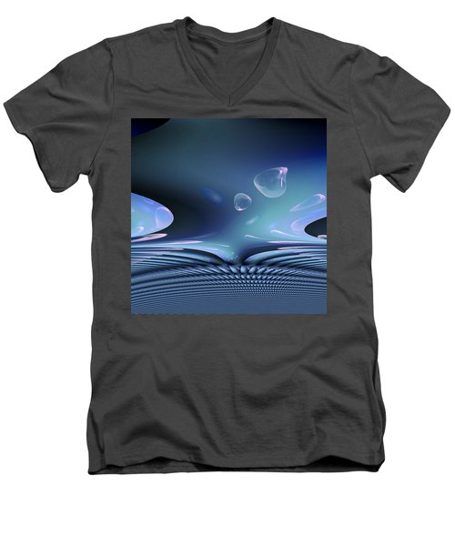 Bubble Abstract Men's V-Neck T-Shirt by Robert G Kernodle
