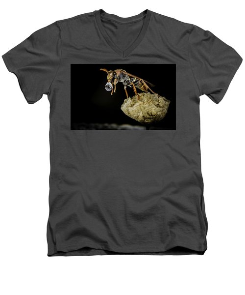 Bubble Blowing Wasp Men's V-Neck T-Shirt