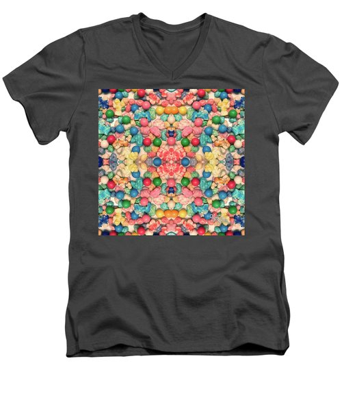 Men's V-Neck T-Shirt featuring the digital art Bubble Gum #9776 by Barbara Tristan