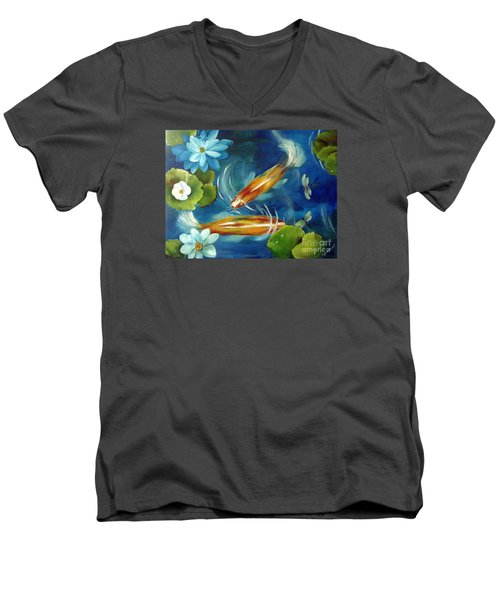 Men's V-Neck T-Shirt featuring the painting Bubble Maker by Carol Sweetwood